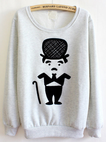 Grey Long Sleeve Cartoon Chaplin Print Sweatshirt