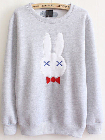 Grey Long Sleeve Bow Rabbit Sweatshirt