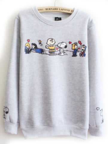 Grey Cartoon Snoopy Print Round Neck Sweatshirt