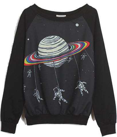 Black Long Sleeve Saturn Astronaut Print Sweatshirt