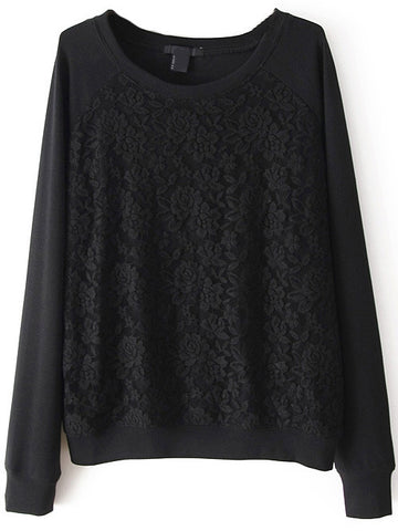 Black Long Sleeve Contrast Lace Sweatshirt