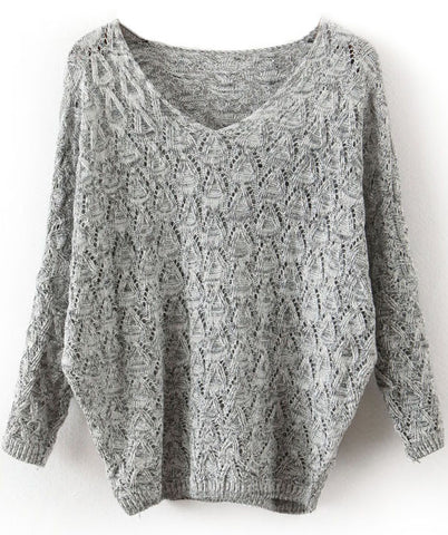 Grey V Neck Long Sleeve Hollow Sweater
