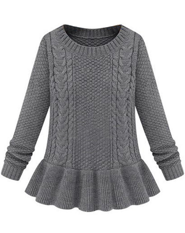 Grey Long Sleeve Cable Knit Ruffle Sweater
