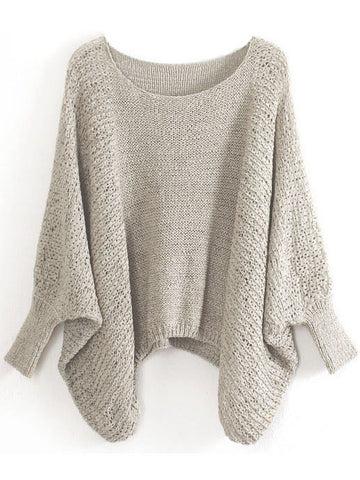 Khaki Batwing Sleeve Hollow Loose Sweater