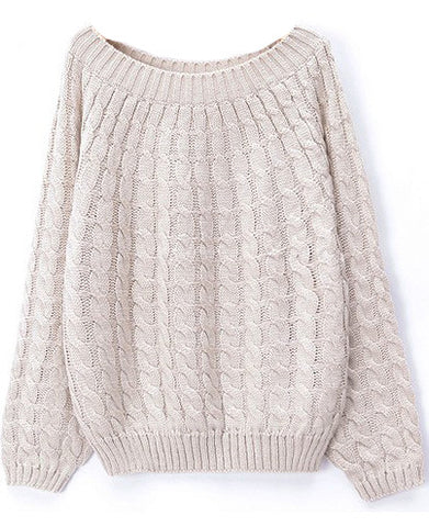 Beige Long Sleeve Loose Cable Knit Sweater