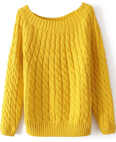 Yellow Long Sleeve Loose Cable Knit Sweater