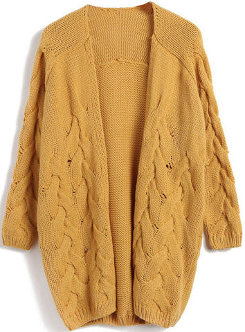 Yellow Long Sleeve Cable Knit Cardigan Sweater