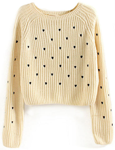 Beige Long Sleeve Hearts Embroidered Crop Sweater