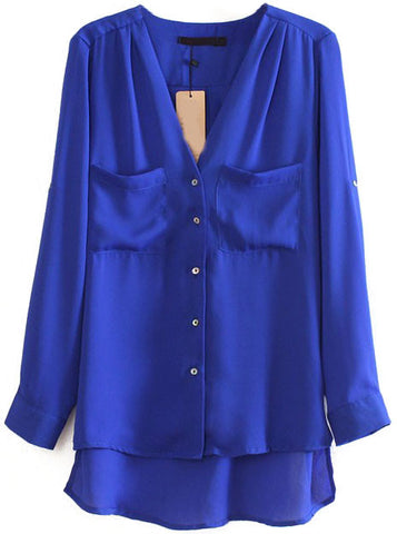 Blue Long Sleeve Pockets Dipped Hem Blouse