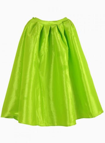Bright Neon Green Midi Skater Skirt
