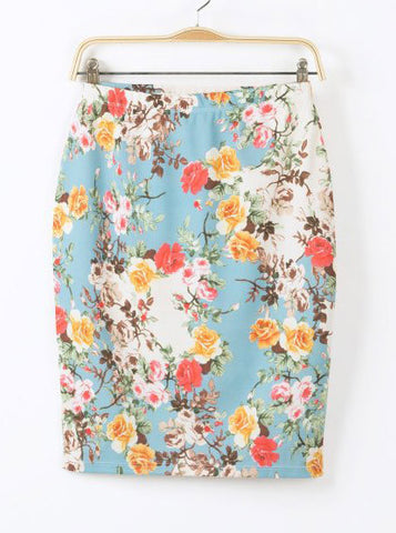 Blue Floral Bodycon Skirt