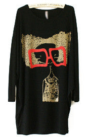 Black Long Sleeve Glasses Girl Print Loose T-Shirt