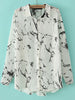 White Lapel Long Sleeve Ink Print Blouse