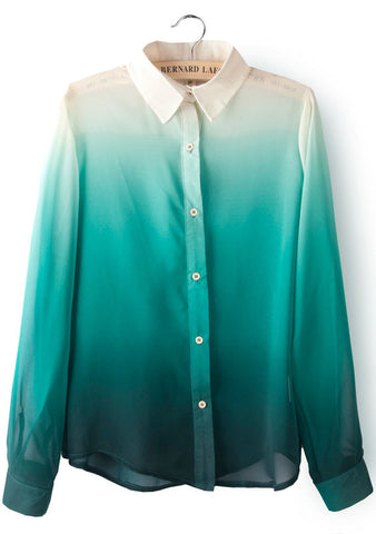 Green Gradients Lapel Long Sleeve Chiffon Blouse