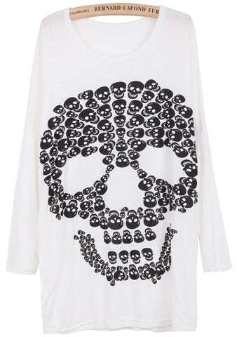White Long Sleeve Skull Print Loose T-Shirt