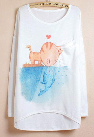 White Batwing Sleeve Cat Fish Print Dipped Hem T-Shirt