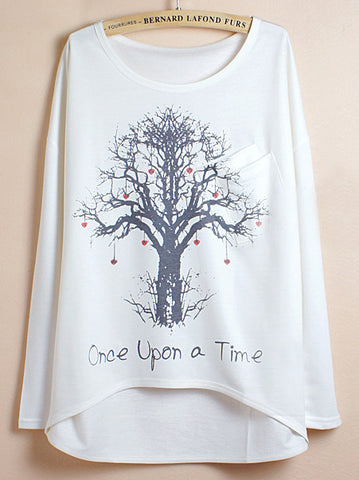 White Batwing Sleeve Wishing Tree Print Dipped Hem T-Shirt