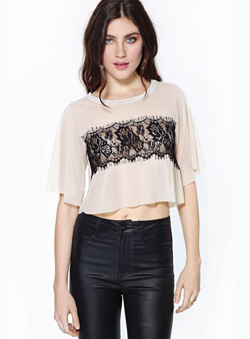 White Short Sleeve Contrast Lace Crop Chiffon T-Shirt