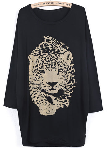 Black Batwing Long Sleeve Leopard Print T-Shirt