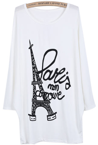 White Batwing Long Sleeve Eiffel Tower Letters Print T-Shirt