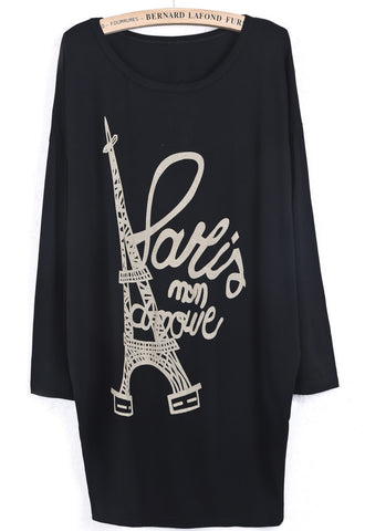 Black Batwing Long Sleeve Eiffel Tower Letters Print T-Shirt