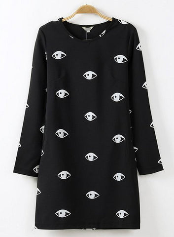 Black Long Sleeve Eyes Print Straight Dress