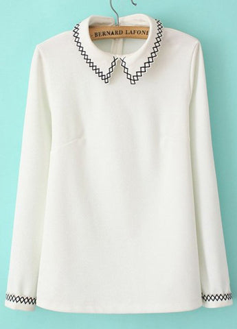 White Lapel Long Sleeve Embroidered Slim Blouse