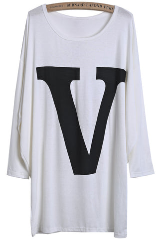 White Batwing Long Sleeve V Print Loose T-Shirt