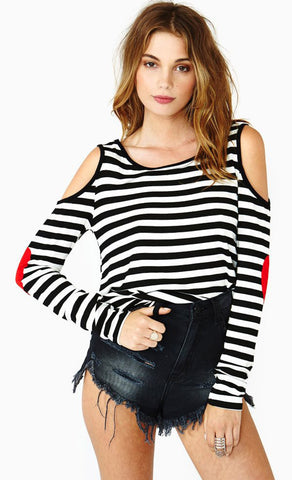 White Black Striped Off the Shoulder Patch T-Shirt