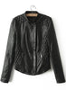 Black Long Sleeve Diamond Patterned PU Lether Jacket