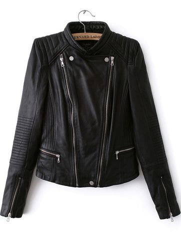Black Long Sleeve Zipper PU Crop Jacket