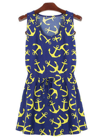 Blue Sleeveless Anchors Print Pleated Dress