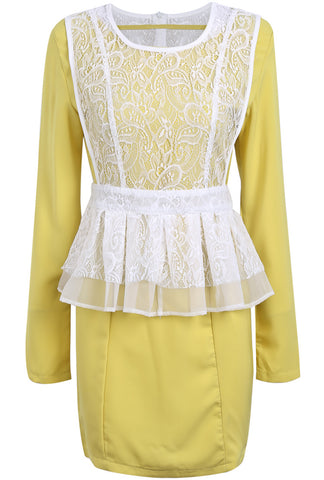 Yellow Long Sleeve Lace Ruffle Bodycon Two Pieces Dress
