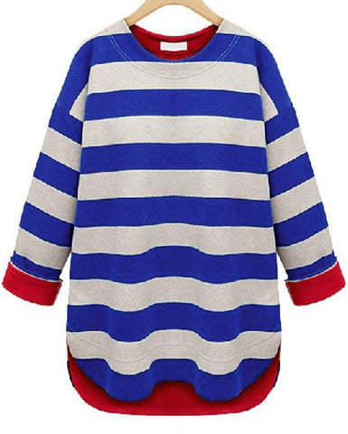 Navy Beige Striped Long Sleeve Slim T-Shirt