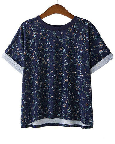 Navy Short Sleeve Floral Loose T-Shirt