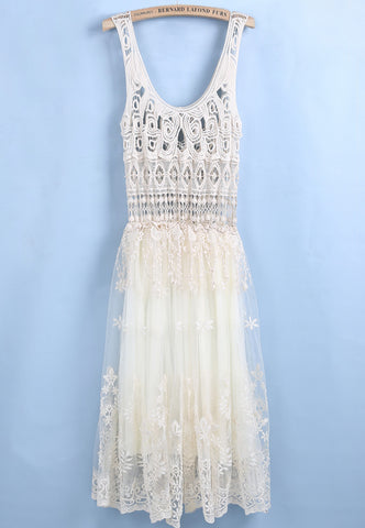 Apricot Sleeveless Hollow Embroidered Pleated Dress