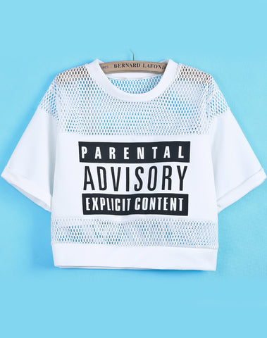 White Contrast Hollow Mesh Yoke Letters Print Top