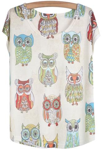 White Short Sleeve Owl Print Loose T-Shirt
