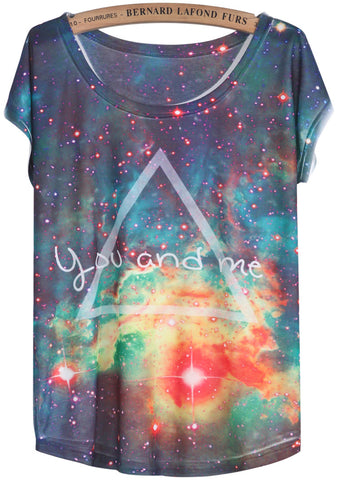 Blue White Short Sleeve Galaxy Triangle Print T-Shirt