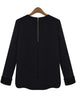 Black Long Sleeve Zipper Split Slim Blouse