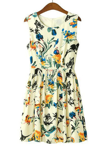 Apricot Sleeveless Floral Birds Print Pleated Dress