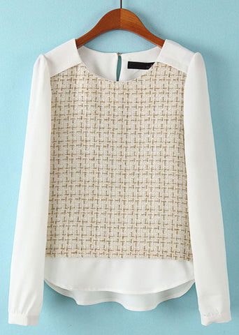 Beige White Long Sleeve Plaid Chiffon Blouse