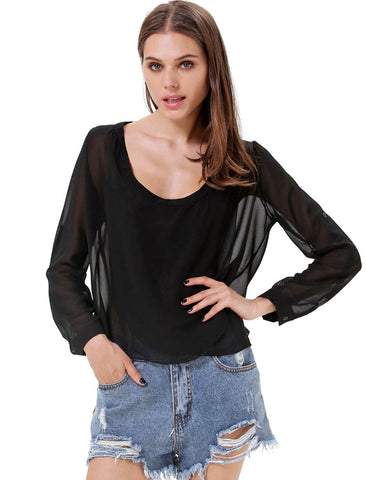 Black V Neck Long Sleeve Sheer Chiffon Blouse