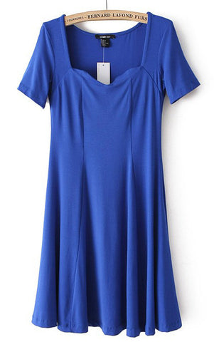Blue Short Sleeve Square Neck Elastic Pleated Dress