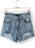 Blue Ripped Pockets Denim Shorts