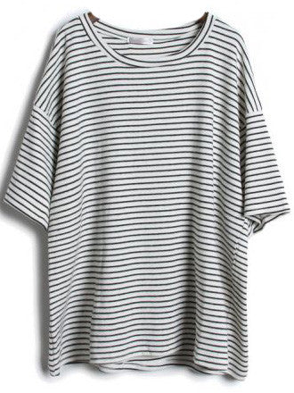Grey Short Sleeve Striped Loose T-Shirt