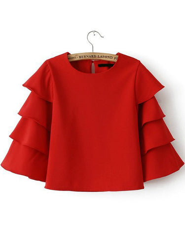 Red Cascading Ruffle Sleeve Crop Top