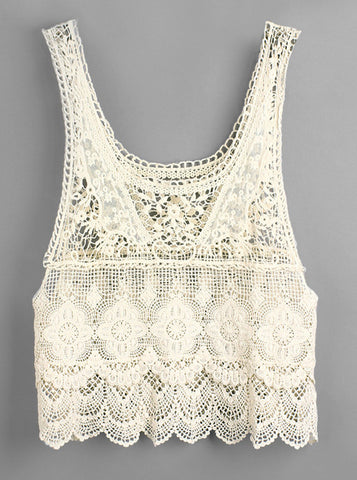 Beige Sleeveless Crochet Lace Vest