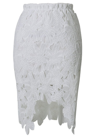 White Asymmetrical Lace Skirt