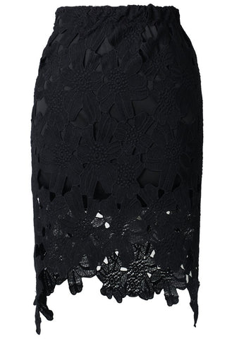 Black Asymmetrical Lace Skirt